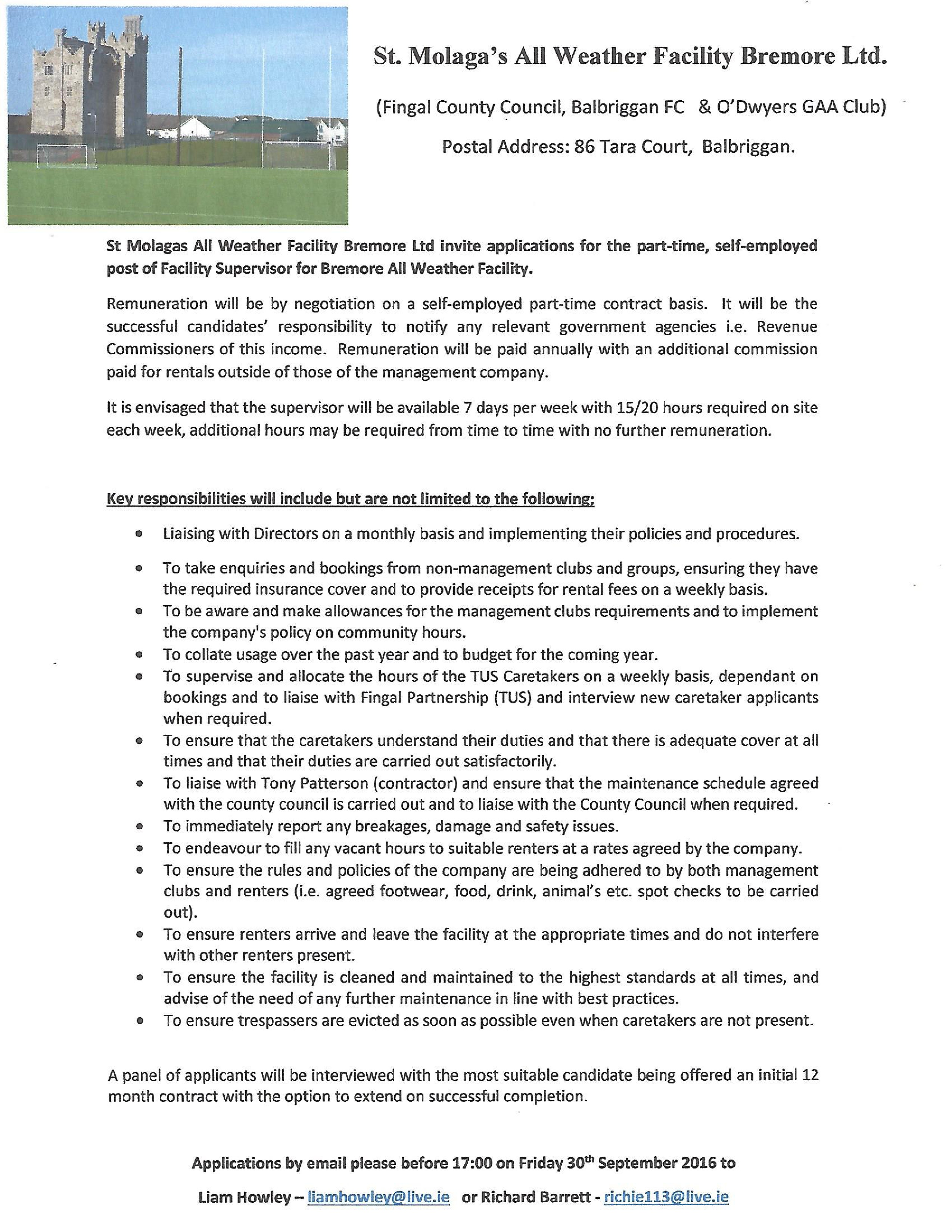All Weather Pitch job vacancy