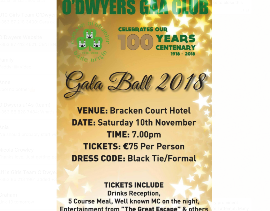 CENTENARY GALA BALL TICKETS
