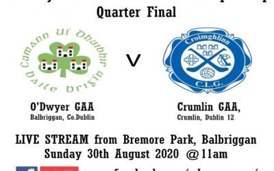LIVE STREAMING: O'Dwyers V Crumlin Junior 1 Club Football Championship Quarter-final